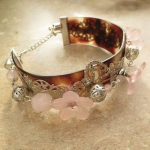 3/$100 Artisan ROSE QUARTZ Flower BRACELET 8""